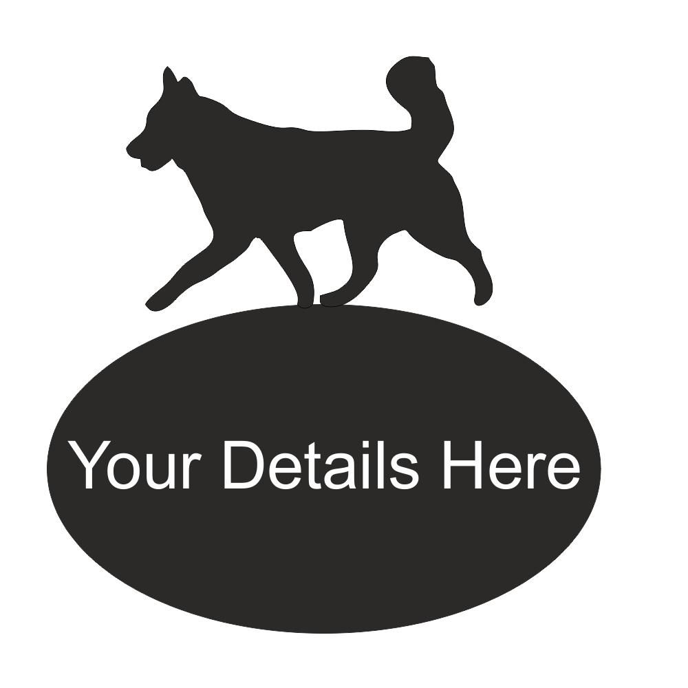 Husky Dog Metal Oval House Plaque