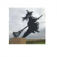 Witch On A Broomstick Fence Post Topper